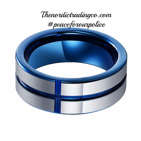 Tungsten Carbide Band Thin Blue Line Cross Inlay Police Officer Wedding Ring 8mm #BlueLivesMatter Support Honor sz 8-13 Men's Jewelry Accessories