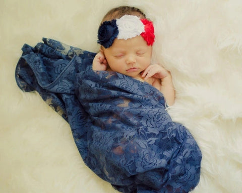 Made In America USA Red White Blue Patriotic Lace Swaddle Photo Prop Sets Baby Infant Newborn Gifts