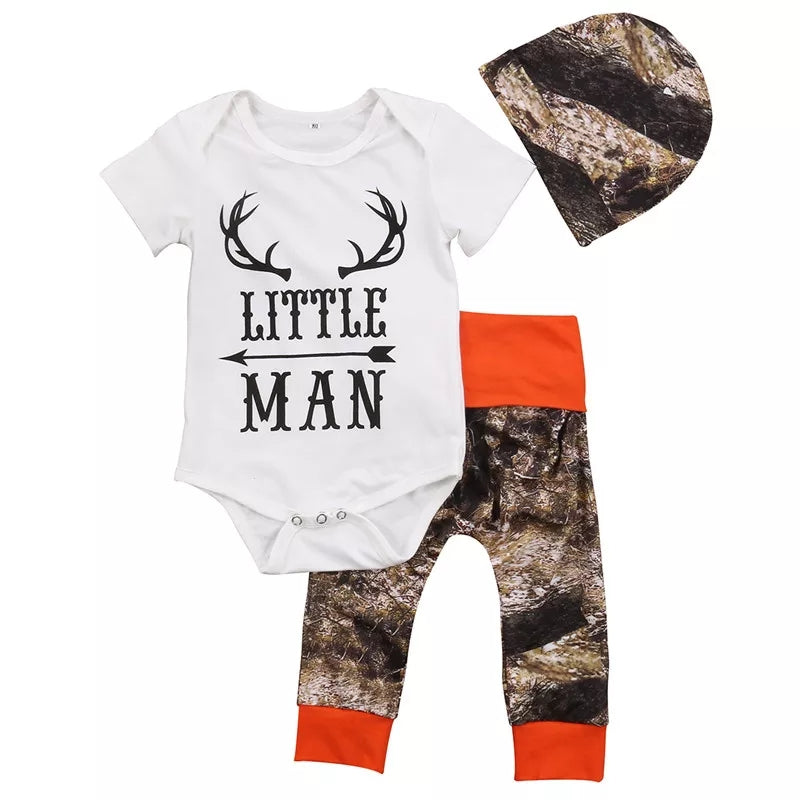 Little Man Camo Boys Outfit Baby Shower Gift Forest Woodland & Orange Camouflage Infant Boy's Newborn Hunting Clothes Babies Kids