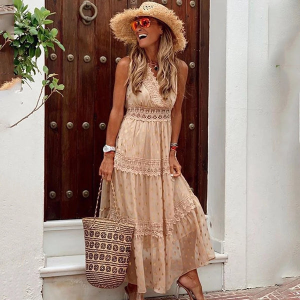 Womens Boho Glam Lace Gold Dots Maxi Dress Chic Resort Wear 4 Colors Blush Pink Baby Blue Beach Dresses Wedding Bridesmaids