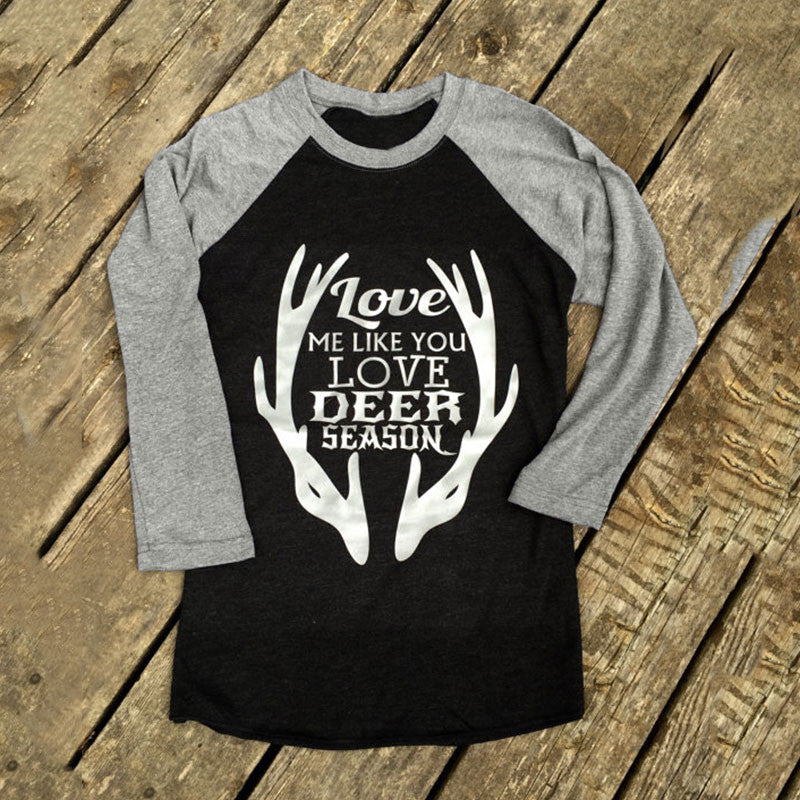 Love Me Like You Love Deer Season Women's Hunting Widow LS T-Shirt Antlers SZ L XL New Bride Engagement Photo Prop Top