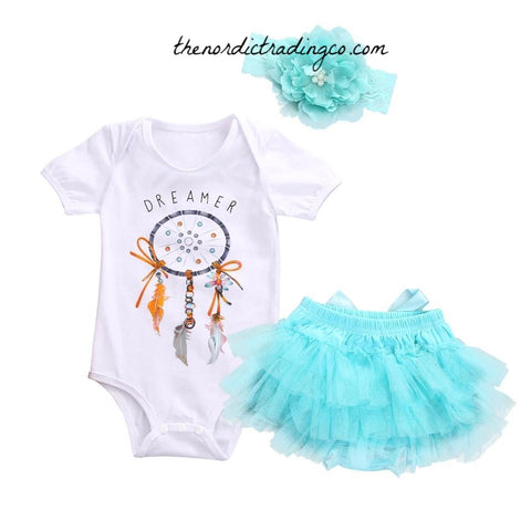 Little Dreamer Baby Girl Set Dream Catcher Onesie Turquoise Blue Tutu Diaper Cover newborn 0/6 mo Girls Clothes Baby Shower Gifts