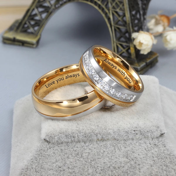 Couples Wedding Ring Set New 2021 Engravable His N Hers Bands Dual Tone Gold Silver Mens Womens Personalized Ring's Matching Engagement Promise