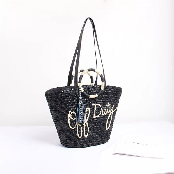 Off Duty Women Straw Tote Bag Casual Black Hand Woven Women's Straw Beach Resort Basket Accessories Gifts Purse