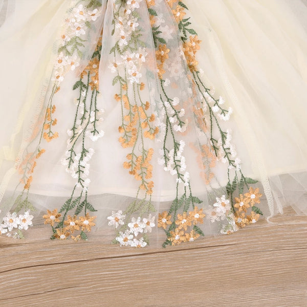 "Flower Girl's Dress Ivory Tulle Skirting Floral Embroidery Bodice Scoop Back 2"" Straps fits size 2 - 6 Gold Green Beige Color Scheme Rustic Country Outdoor Wedding Natural Simple Elegant Party Dresses Toddler Little Girls'"