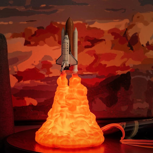 Rocket Space Shuttle Launch Lamp Night Day Light Sky Rockets 3D Fire Tail Rechargeable Bed Room Office Living Rooms Lights Kids Adult