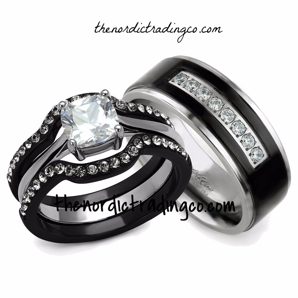 his hers engagement wedding ring set black silver ion plated 3 rings womens - Men And Women Wedding Ring Sets