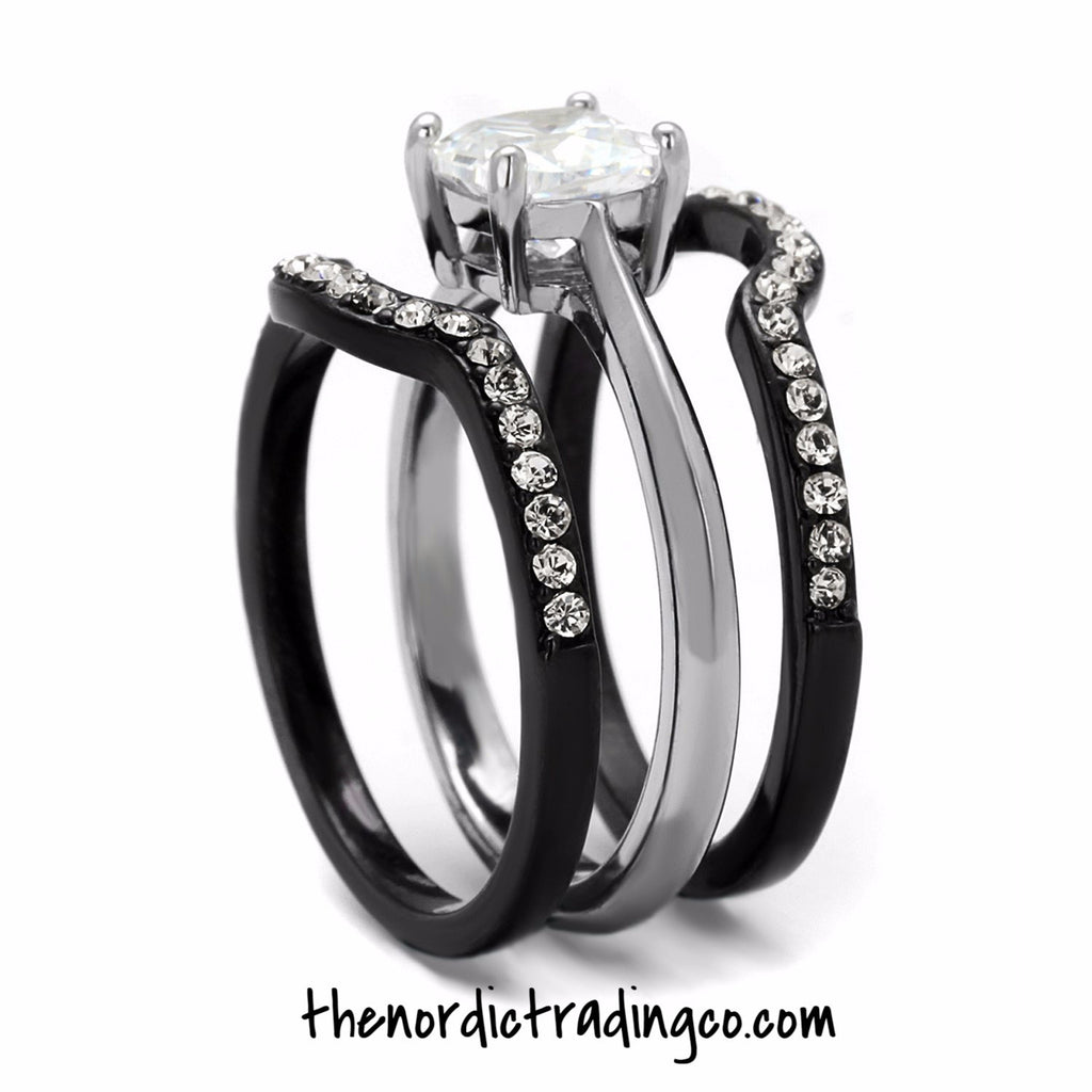 his hers engagement wedding ring set black silver ion plated 3 rings womens - Black Wedding Ring Set