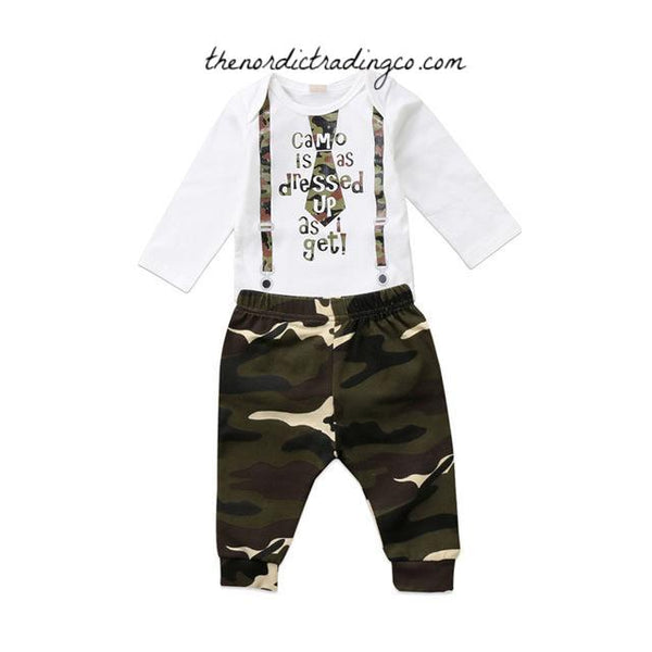 Camo Is As Dressed Up As I Get Newborn Boy Baby Set Pants Top Faux Tie Camouflage 2 pc Infant Clothing Baby Shower Gift Ideas Gifts Clothing
