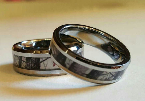 Couples 2 Ring Set Tungsten Carbide Birch Tree Camo Pattern Men's Women's Wedding Engagement Band