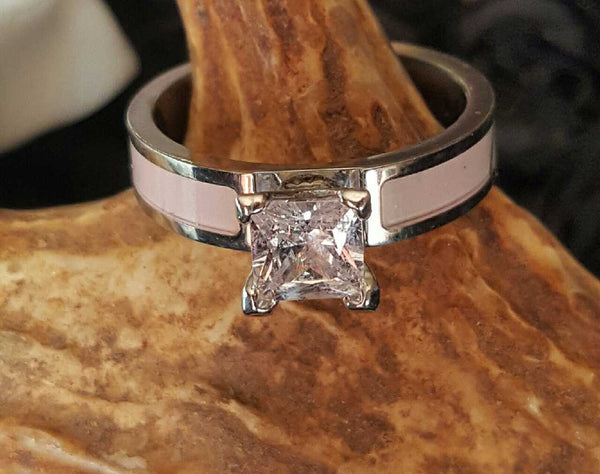 Women's Pink Camo Engagement Ring Solitaire CZ Centerstone 4 Prong Titanium Band Hunter Outdoorsman Jewelry