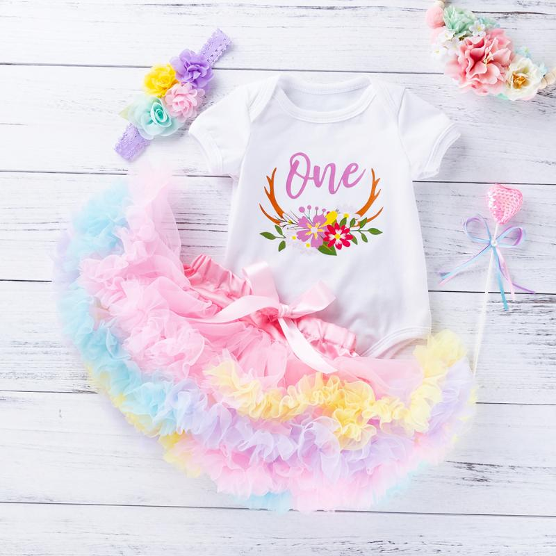 Floral Deer Antlers Boho Baby Girl ONE First Birthday Outfit Tutu Skirt Chiffon Pastel Ruffles Bodysuit Top Antler Headband