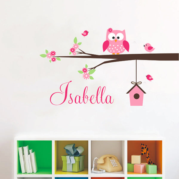 New Arrival Coral & Gray Personalized Sweet Owl Branch Birdhouse Name Customizable 3 Colors Wall Mural Decal Baby Room Nursery Girl