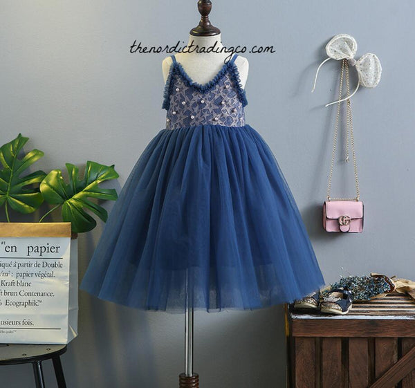 Starry Nights Wedding Flower Girls Dress Girl's Boho Dresses Plum Blue Rust Stars Pearls Chiffon Tulle Toddler Little Girls Astrology Cosmic Astronomy