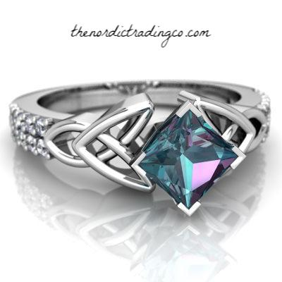 Celtic Knot Ring w/ Dazzling Lab Mystic Rainbow Topaz CZ Accented Band Stone Is 65 ct Womens Rings Gifts Jewelry Gift for Her Engagement Anniversary Promise