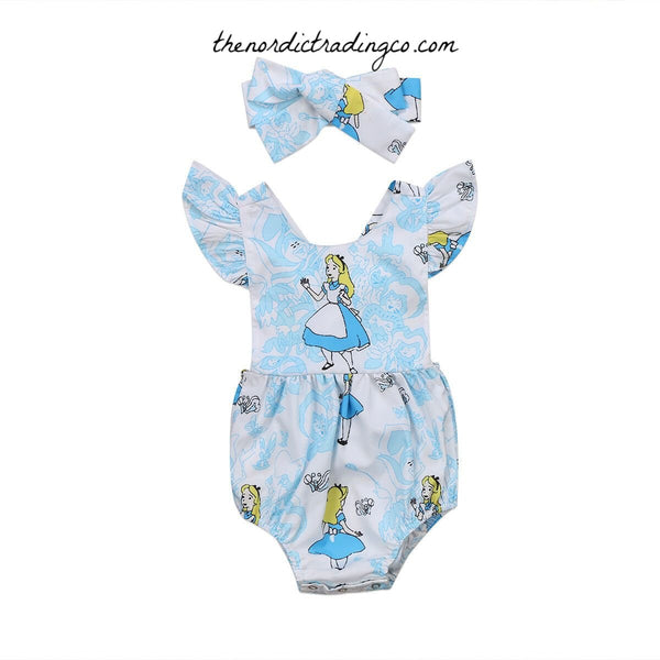 Alice in Wonderland Infant Girl Set BONUS Mickey Ears Headband Baby Girls Romper Sun Suit Infant Newborn Girl's Kids Gifts Baby Shower