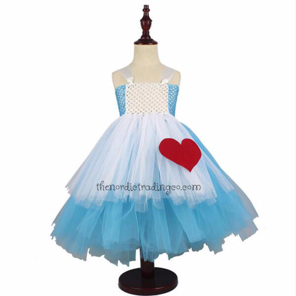 Alice in Wonderland Girls Tutu Dress Birthday Pageant Halloween Costume USA Creative Play Dress Up Knee or Tea Length Party Size 2T - 14
