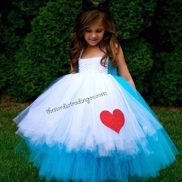 Alice in Wonderland Girls Tutu Dress Halloween Pageant Costume Made to Order  USA Creative Play Dress Up Tea Party Size 2T - 14