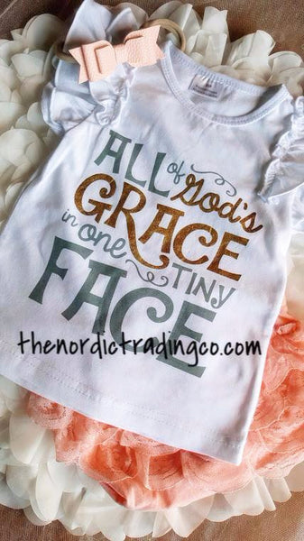 All of God's Grace In One Tiny Face 3 pc Set Top Pink Coral Ruffle Bottom Cover Headband Gold Gladiator Sandal Baby Girl Infant Toddler Girls Sets Clothing Girl's