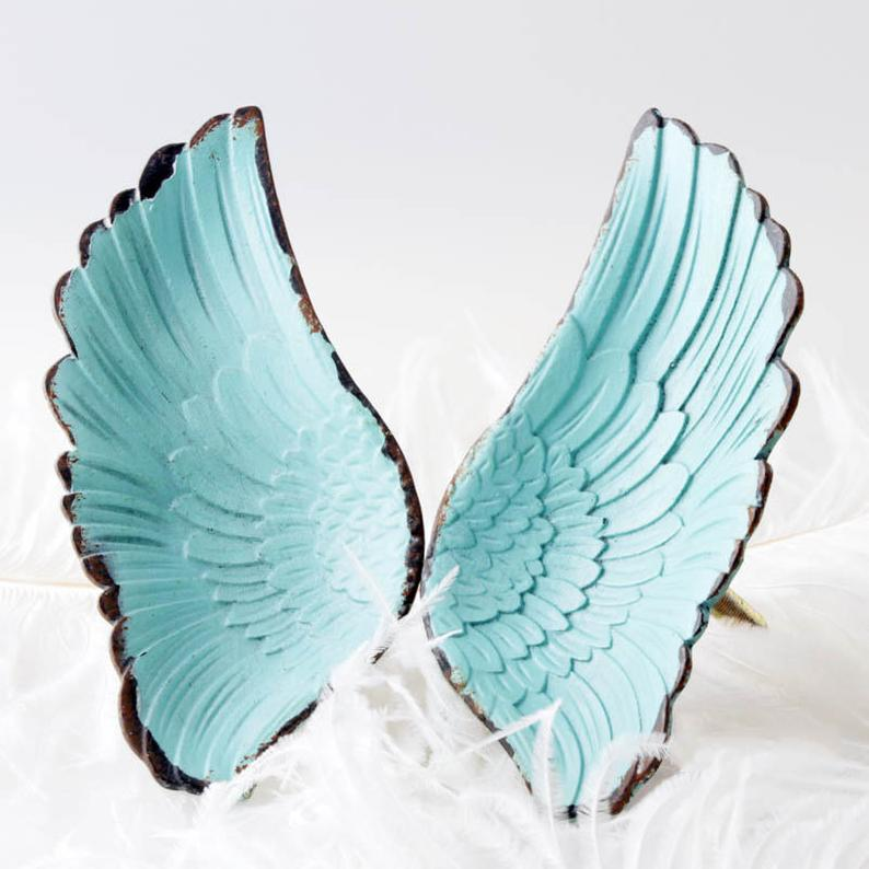 Heavenly Angel Wings Cabinet Handles Drawer Pulls Turquoise Blue Weathered White Knobs Drawer Pull Rustic Farmhouse Industrial Beach Coastal Home Interior Design