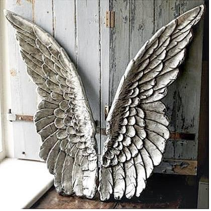 Angel Wings Wall Art Weathered Silver Finish 2 pc Set Home Nursery Family Room Gallery Wall Wing Angels Decor Baby Girl's Walls