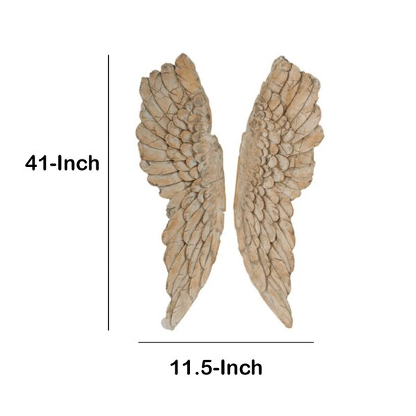 Angel Wings Wall Art Weathered Finish 2 pc Set / 2 Size Home Nursery Family Room Bedroom Gallery Wall Wing Angels Decor Baby Girl's Walls Decoration
