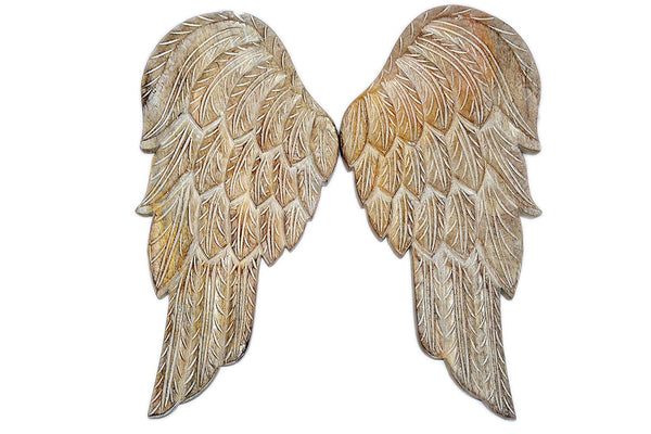 "Distressed Wood Angel Wings Home Interior Decor 18.5"" One Pair Wall Mounted Hanging Sculpture Rustic Cottage Farmhouse Vintage Beach Design Styles"