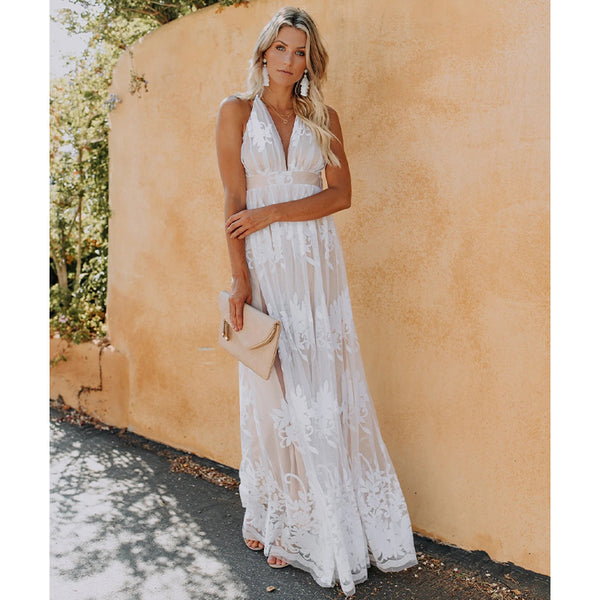 White All Over Lace Beach Wedding Dress Deep V Halter Style Top Long Maxi Length Beach Dresses Womens Clothing Resort Wear
