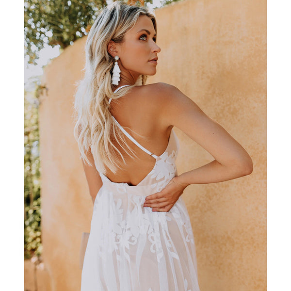 Back View White All Over Lace Beach Wedding Dress Deep V Halter Style Top Long Maxi Length Beach Dresses Women's Clothing Resort Wear