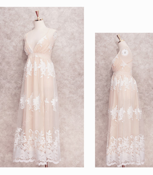 White or Pink Lace Beach Wedding Maxi Dress Womens Dresses Blush Pink Boho Bride Bridesmaid Festival Marriage Ceremony Destination Wedding Ideas Tropical Gypsy