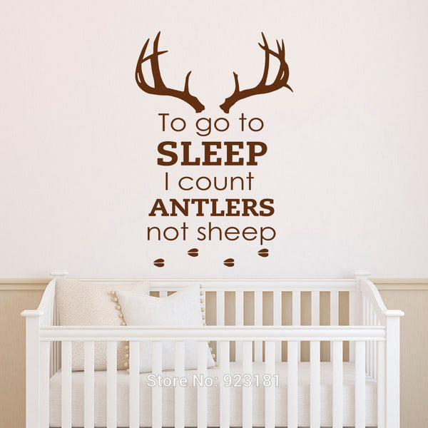 To Go To Sleep I Count Antlers Not Sheep Wall Words Decal