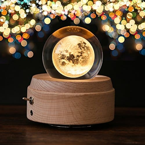 Crystal Ball Glowing Moon Music Box Night Light Lunar Projection Lamp Man in the Moon Uncommon Gift Baby Teen Adult Gifts