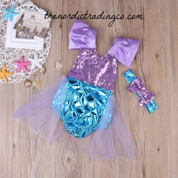 Little Mermaid Girl's 1st Birthday Romper Tutu Set Ideal Under the Sea Party Theme Outfit NEW Colors Aqua Purple Sparkles Blue Mermaids Scales sz 12/18 mo Dress Cake Smash Birthday
