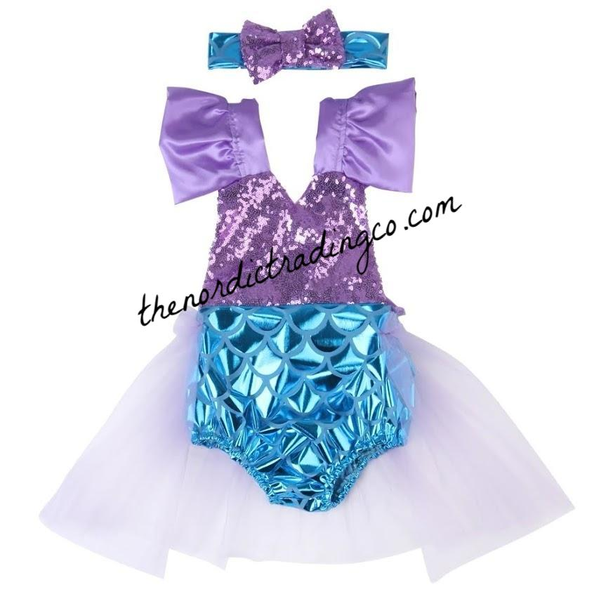 10f71b0b75b ... 12 18 mo Dress Cake Smash Birthday. Little Mermaid Girl s 1st Birthday  Romper Tutu Set Ideal Under the Sea Party Theme Outfit NEW