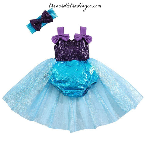 Aqua Blue & Purple Mermaid Tutu Romper Dress Baby Girl's Party Dresses Cake Smash Birthday Sequin Tutus Infant Girl Toddler Girls Little Mermaids Under the Sea Toddler