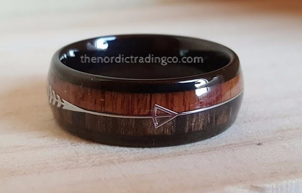 Men's Rugged Hunting Inspired Wedding Engagement Ring's Band Silver Arrow Real Wood Inlay Men Groom's Ring Him Jewelry