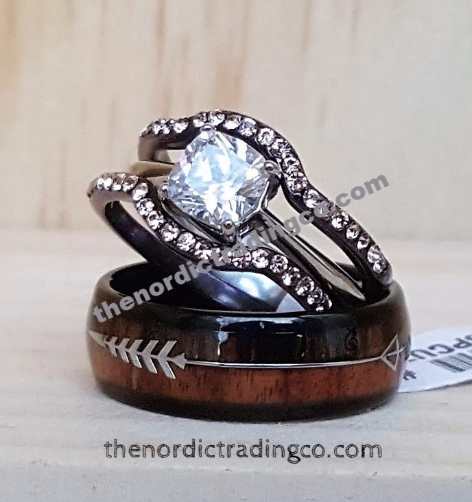 Titanium Arrow Wood Wedding & Engagement Ring Set Groom's Band /  Women's Chocolate Plated 3 Ring Set Princess Cut CZ