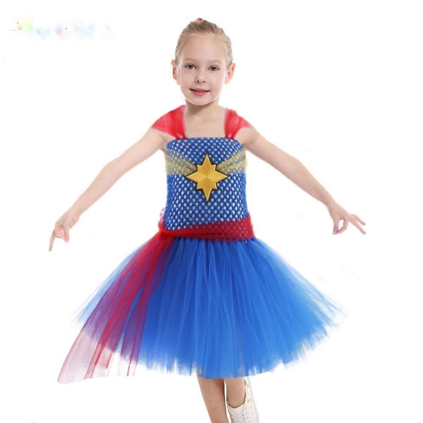 Girls Superhero Halloween Costume Tutu Dress Avengers Captain Marvel or Wonder Woman 5 6 7