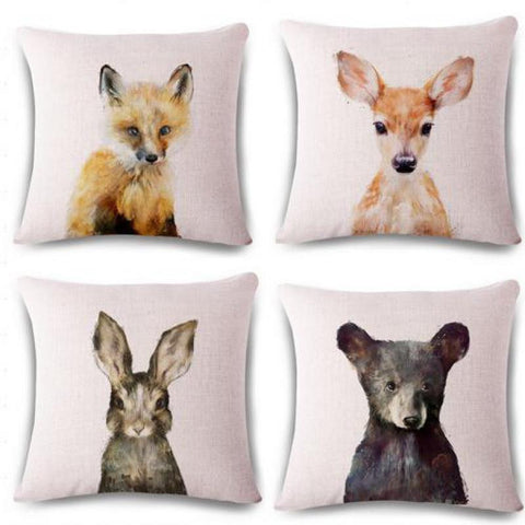 Woodlands Baby Animals Pillow Covers Fox, Doe Bear Bunny Watercolor Prints 17x17 Nursery Pillows Nordic Home Decor Country Farmhouse Rustic Cottage Interior Home Accents Accessories