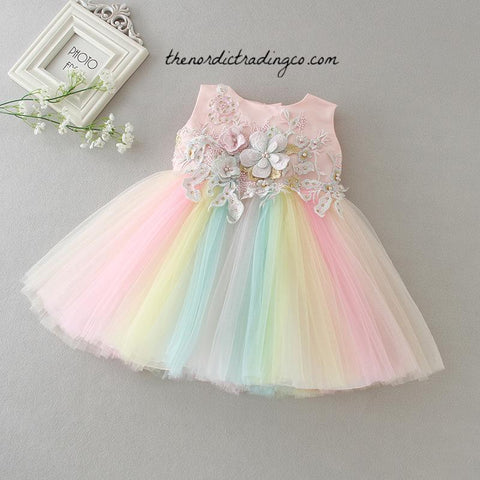 Baby Girl's Party Dress Pastel Flowers Rainbow Tulle Embroidery OH MY Cute Pink Sister Girl Dresses 2 Styles Dress 0-2T Newborn Infant Kids