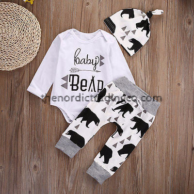 Welcome Your New Adventure With This Cutie Baby Bear 3 pc Take Home Set Photo Prop Pants Onesie Hat Size Birth - 3mo