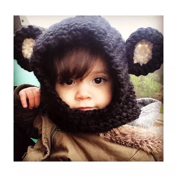 Baby Black Bear Handmade Open Face Boy's Hat Cowl Cute Boy Black Yarn Outerwear Boy's Hats Caps Beanies Toddlers Halloween Costume Accessories