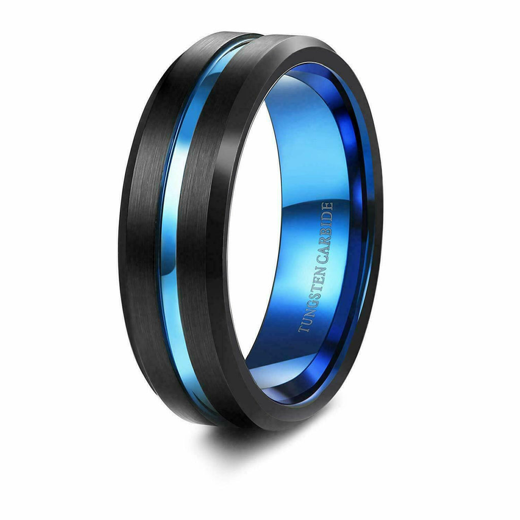Thin Blue Line Tungsten Men's Wedding Ring Black Tungsten Carbide Baby Blue Chrome Groove & Inner Band Police Officer Rings Men Engagement Jewelry Gifts
