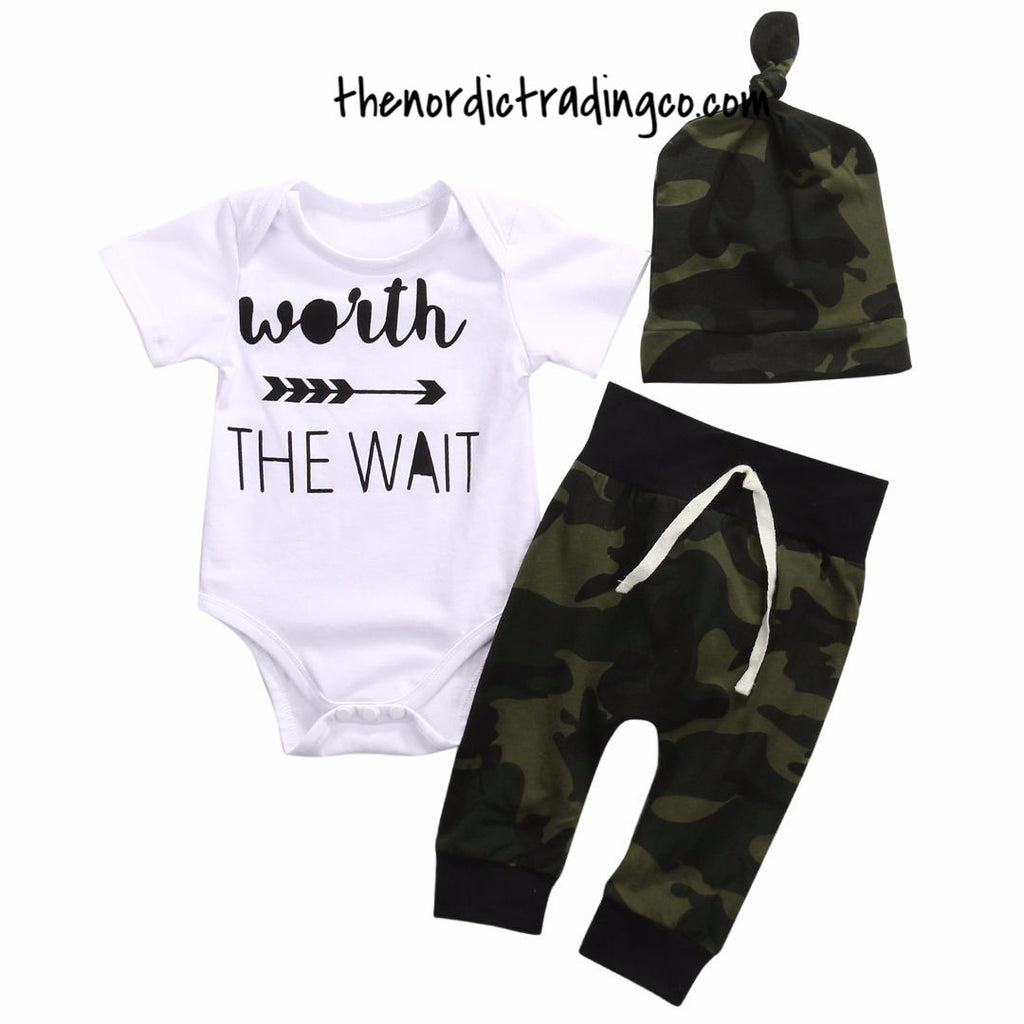 f6801a73 Boy's Camo Outfit Top Pants 0/6 mo Newborn Boys Sets Baby Shower Gifts  Infant