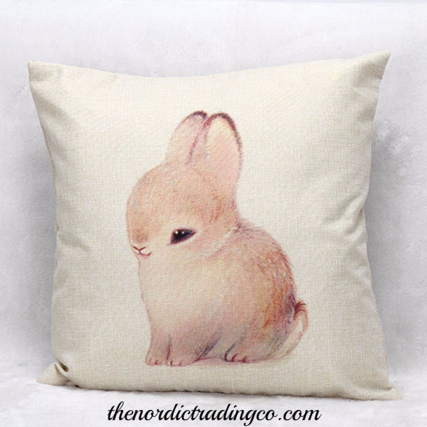 Woodland Forest Baby Animals Bunny Billy Goat Set Spring Pillow Covers Linen Nordic Linens Home Living Decor Designs