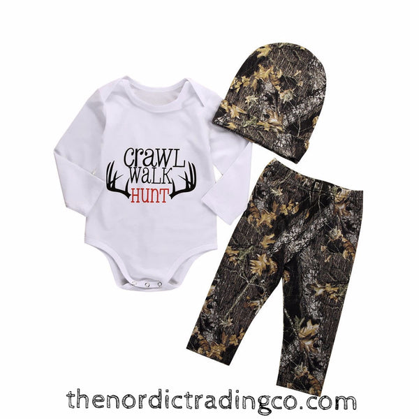 CRAWL WALK HUNT Boy's Outfit Gift Camo Pants Hat Onesie Baby Boy Shower Gifts 0-6 mo Antlers Camouflage Outfits Sets Boys