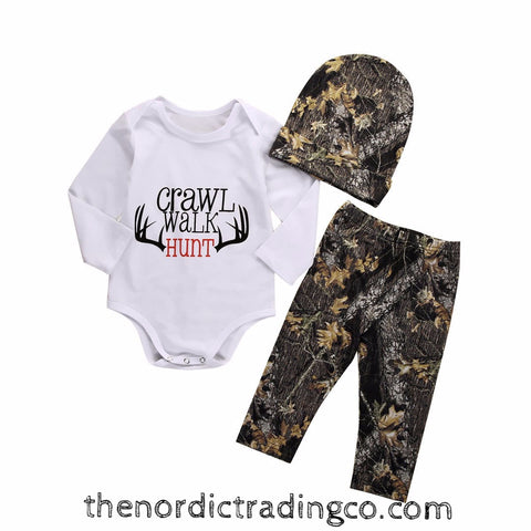 CRAWL WALK HUNT Baby Boy 3pc Gift Set Camo Pants Beanie Hat  Onesie Ships from USA Baby Shower Gifts One Size 0-6 mo. Antlers