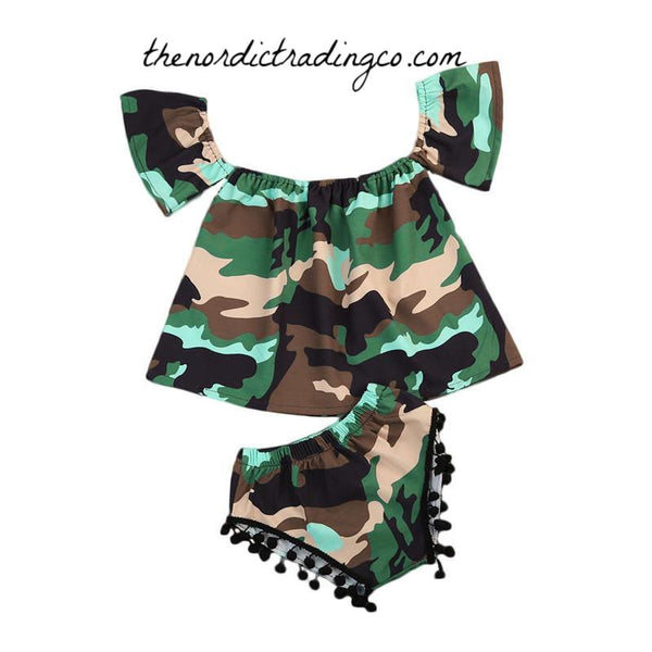 Camo Baby Girl's Outfit 6/12 mo Little Soldier Camouflage Pattern Outfits Infant Girls Set Gift Ideas USA Military Kids Childrens Clothes One First Birthday Party Hunting