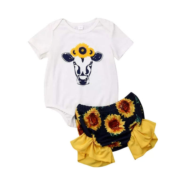 Country Girls Cow Sunflower Outfit Newborn Girl's Baby Shower Gift Farm Heifer Cows Moo Bloomer's Bodysuit Top Sunflower Headband