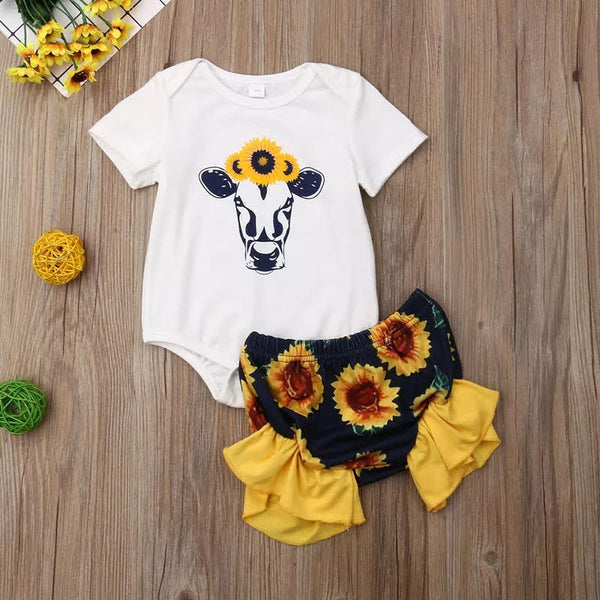 Country Infant Girls Cow Outfit plus Sun Flower Crown Newborn Girl's Baby Shower Gift Ideas Cows Moo Farmer Bloomer's Bodysuit Top Sunflower Headband
